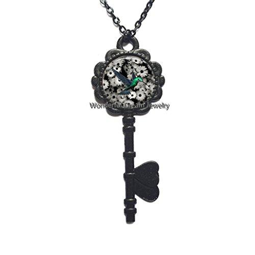 New Art Glass Cabochon Key Necklace Hummingbird Key Necklace Hummingbird Key Pendant Glass Dome Key Pendant Key Necklace,PU339