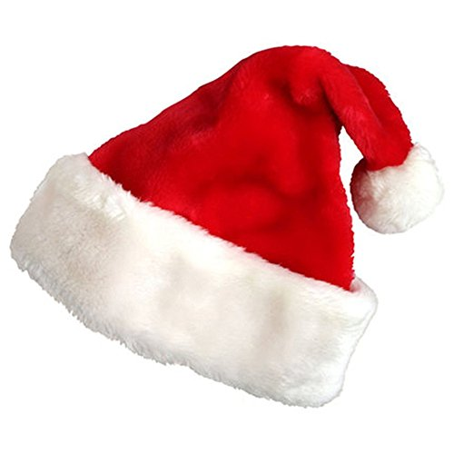 [MuNiSa Santa Hat with Plush Trim Red and White Plush Christmas Santa Hat for Christmas Party Celebration (Adult)] (Deluxe Santa Hat)