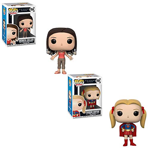 Funko POP! Television Friends The TV Series: Monica Geller and Phoebe Buffay as Supergirl Toy Action Figures - 2 POP Bundle