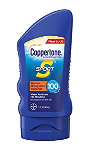 Coppertone Sport Sunscreen Lotion Broad Spectrum SPF 100, 3 Fluid Ounces Travel Size