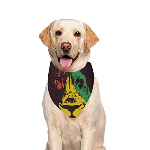 JTMOVING Dog Scarf Lion Head Rasta Printing Dog Bandana Triangle Kerchief Bibs Accessories for Large Boy Girl Dogs Cats Pets Birthday Party Gift