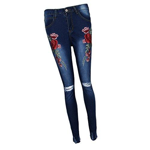Crayon Slim bleu Pantalon Jeans Vintage Pants Rose Femmes Broderie Trous fonc Baoblaze Collants ORYwqB8a
