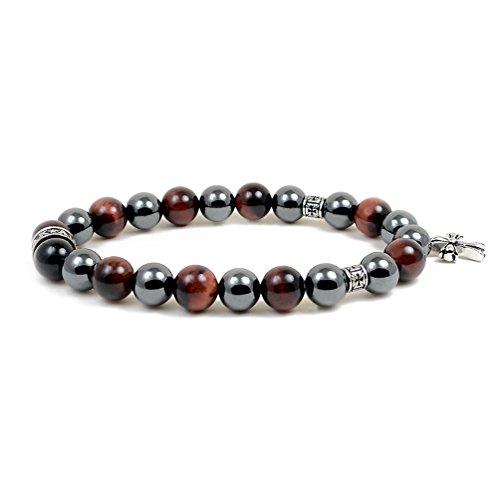 Accents Kingdom Men's 10MM Magnetic Hematite Red Tiger Eye Bead Cross Bracelet 8.5