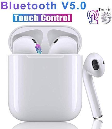Touch Bluetooth 5.0 Wireless Earbuds, Noise Canceling Sports Headphones, IPX5 Waterproof HiFi Stereo Earphones in-Ear Built-in Mic Headset for Phone/XS Samsung Android and More
