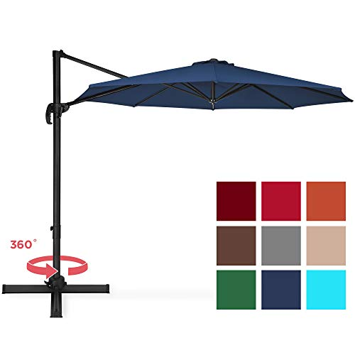 Best Choice Products 10-Foot 360-Degree Rotating Aluminum Polyester Cantilever Offset Market Patio Umbrella Shade with Easy Tilt and Smooth Gliding Handle, Navy Blue