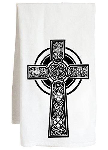 Live Nice Celtic Cross - Scottish Irish Catholic Faith - Farm Flour Sack Kitchen Tea Towel