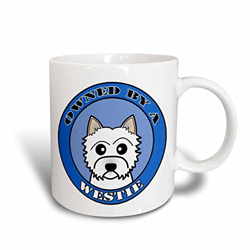 (3dRose Owned by a West Highland Terrier Westie Dog Blue Ceramic Mug, 11-Ounce)