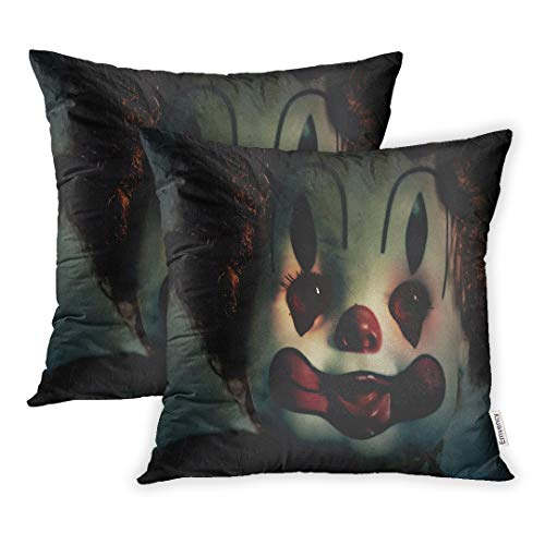 Emvency Set of 2 Throw Pillow Covers 20x20 Inch Decorative Case Closeup of Scary Evil Clown Toy Doll That Could Be Possessed Halloween Fear Cover Square Pillowcase Cushion Cases -