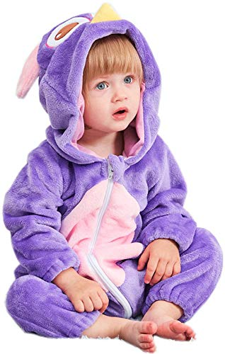 bettyhome Unisex-Baby Kids Xmas Flannel Romper Animal Owl Onesie Pajamas Outfits Suit Costume (70#(0-6months), Purple)]()