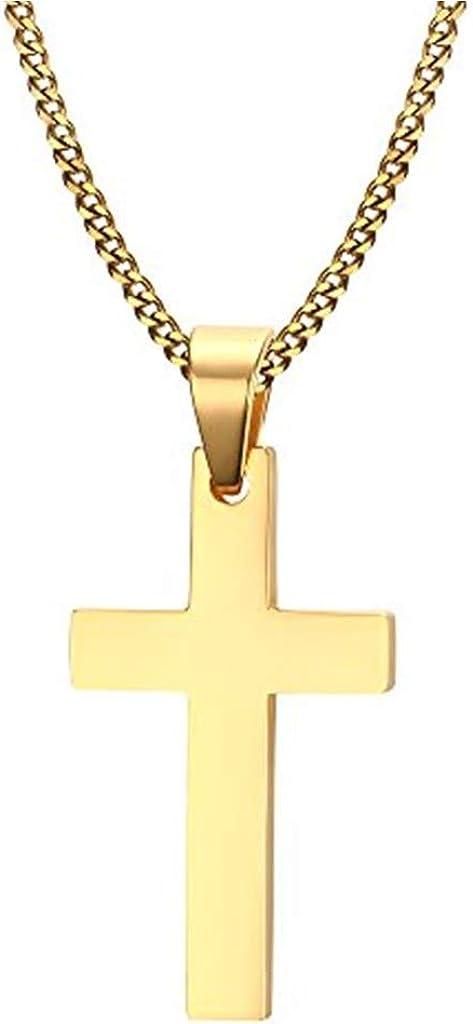 Gkmamrg Colgante de Cruz de Acero Inoxidable con Cadena de 55 cm para Hombre y Mujer, Plata (Dorado)