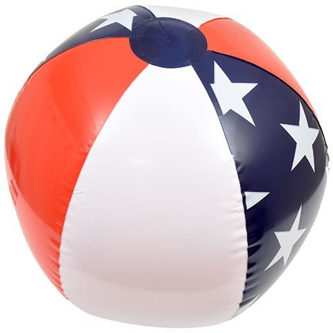 Outdoor Play Playtime Pool Lake Beach Water American Patriotic USA Flag United States of America Inflatable Lake Pool Beach Balls, 20 in.