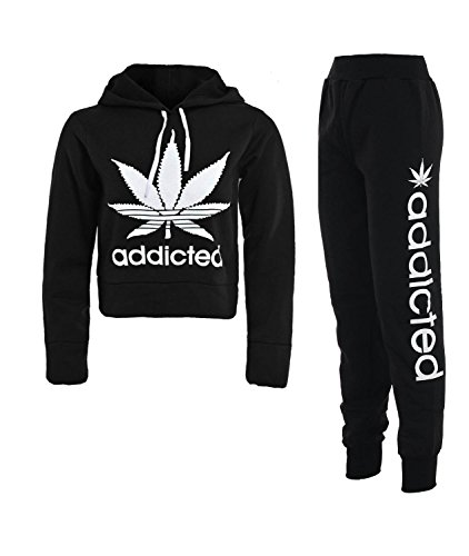 Forever Womens Addicted Workout Print Tracksuit Cropped Hoody Sweatshirt Joggers Set