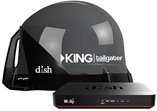 KING VQ4550 Tailgater Bundle - Portable Satellite TV Antenna and DISH Wally HD Receiver, Gray