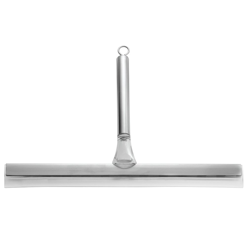 InterDesign Stella Bathroom Shower Squeegee - 12, With Suction Hook, Brushed Stainless Steel/Clear 00745A