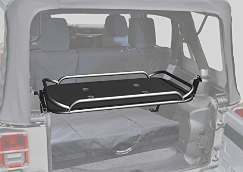 Rampage Jeep Products 86623 Black Powder Coat Finish Rear Fold-Up Sport Rack for Jeep Wrangler JK 4-Door by Rampage (Image #1)