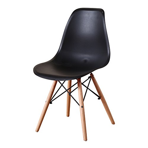 Italian Concept Set, Chair with Wood Legs and Structure of Polypropylene Connector in Lacquered Metal Seat and Backrest, Black, Single