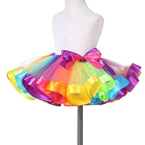 TRADERPLUS Little Girls Layered Rainbow Ribbon Tutu Skirt