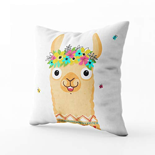 GROOTEY Square Pillowcase with Zip for Easter Couch Sofa Décor Cute Lama Character Print Fabric Poster Wrapping Paper Card Baby Shower Wallpaper 20X20Inch Throw Pillow Covers Cushion