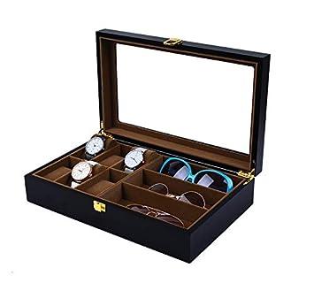 Mkuha Estuche Caja para almacenar 6 Relojes y 3 Gafas,Gafas de Sol y Estuche para presentación de Relojes Gafas,Organizador de Relojes Gafas, ...
