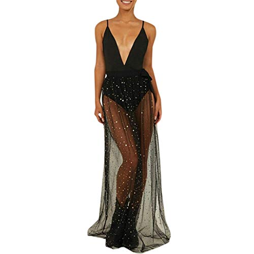 iPOGP Womens Sequin Skirt Boho High Waist Mesh Sexy Perspective Skirt Summer Casual Beach Maxi Long Dress (Black,M)