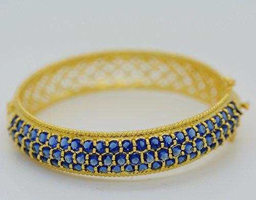 Gorgeous 22k Yellow Gold Plated Women Rare AAA Syn Blue Sapphire Tennis Bracelets Cuff Bangle