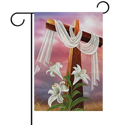 Yochoice ALAZA Easter Resurrection Cross Lily Polyester Garden Flag House Banner 12 x 18 inch, Two Sided Welcome Yard Decoration Flag for Wedding Party Home Decor