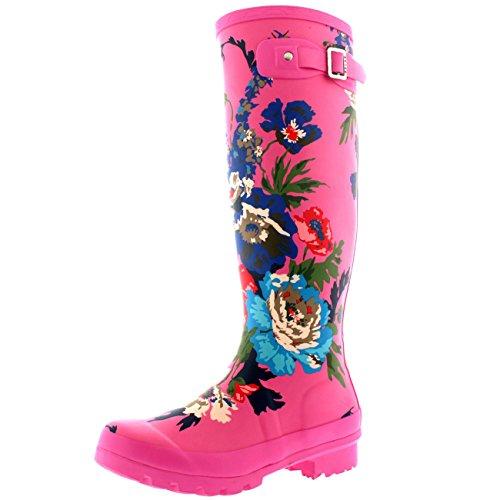 Mujer Estampado Floral Nieve Lluvia A Prueba De Agua Botas Goma Botas Light Rosa