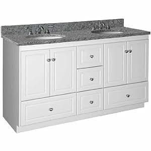 Simplicity 60 double bowl bathroom vanity base base finish satin white depth 21 for 60 double bowl bathroom vanity