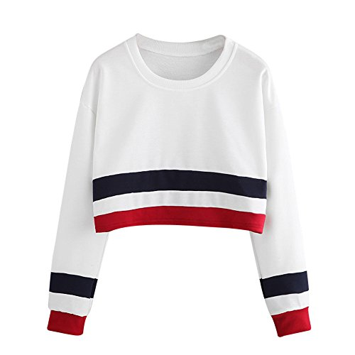 Women Casual Long Sleeve Round Neck Sweatshirt Sexy Striped Crop T Shirt Blouses Tops(L,White)