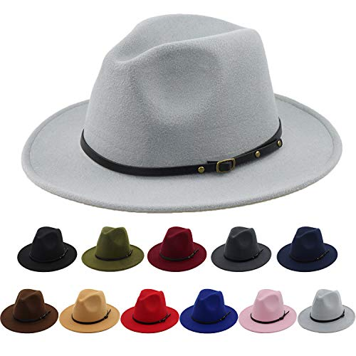 Women 100% Wool Felt Fedora Hat Wide Brim Classic Pork Pie Hat (Grey Fedora Hat)