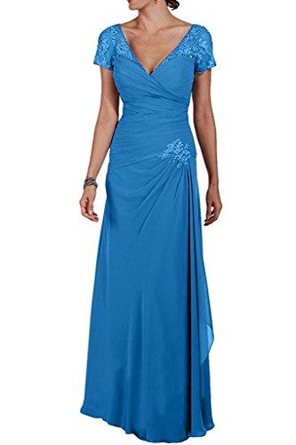 Kleider Grau Rock Abendkleider Chiffon mia Brautmutterkleider La Blau A Linie Bodnelang Braut Formal Kurzarm Partykleider q4UnFB