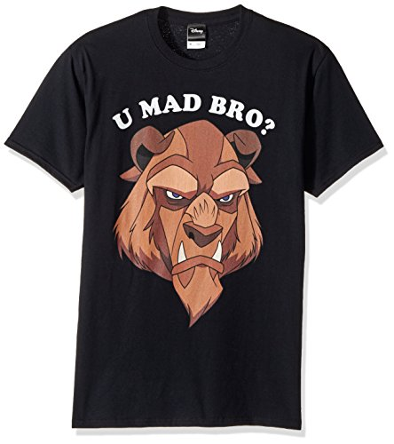 Disney Mens Beauty and The Beast U Mad Bro Graphic T-Shirt