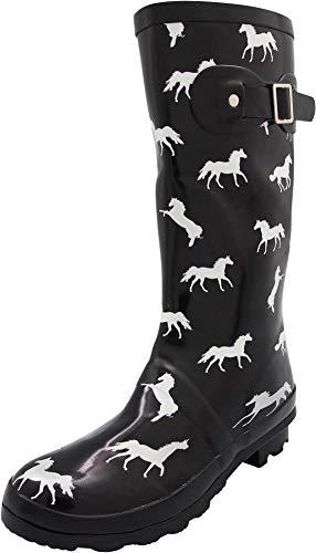 NORTY - Womens Hurricane Wellie Gloss Mid-Calf Horse Print Rain Boot, Black 40854-6B(M) US