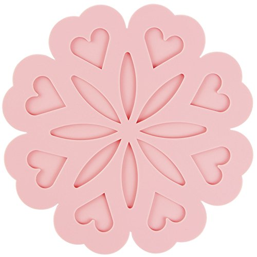 Saver Roll Top Desk - Silicone Trivet Mats Hot Pads Pot Holders Spoon Rest Placemat Table Mat Dining Table Heat Resistant Mat Insulation 4Pcs (Pink)