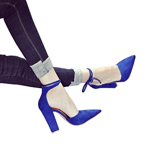 Fheaven Sandalen Voor Dames - Dames Lace Up Strik Zomer Sandalen Gladiator Indoor Outdoor Slingback Strandschoenen Chunky Block Hak Blauw