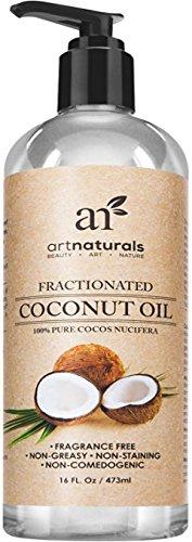Art Naturals Kokosöl 473 ml, 100% Rein & Fraktioniert Kokosnussöl, Stets Flüssig & nahezu Geruchlos | Bestes Massageöl | Natürlicher UV-Filter | Anti-Aging & Anti-Falten Schutz | Für jeden Hauttyp | Ideal für Trockene Haut & Haare