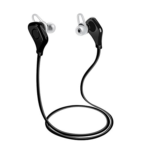PECHAM Bluetooth Headphones CSR4.0 Wireless Sport Stereo In-Ear Noise Cancelling Sweatproof Headset with Mic for iPhone, Samsung and Android Phones, Black