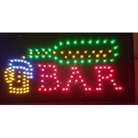 LED Open Sign On/Off with Chain High Visible Bright Colors Led Moving Flashing Animated Neon Sign Motion Light 19×10
