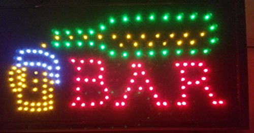 LED Open Sign On/off with Chain High Visible Bright Colors Led Moving Flashing Animated Neon Sign Motion Light 19x10