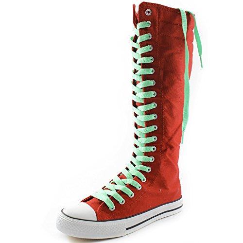 Dailyshoes Damesschoenen Middenkuit Lange Laarzen Casual Sneaker Punk Flat, Rode Laarzen, Perfect Groen Kant