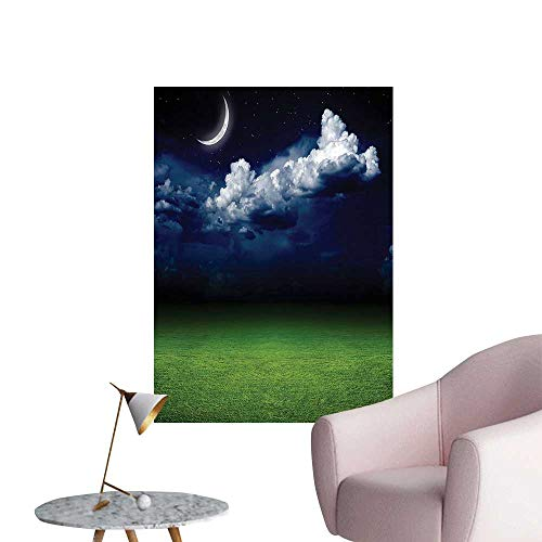 Nin Ground - Wall Stickers for Living Room Night View Picture Grass Ground Dark Sky Clouds Mo and Stars Vinyl Wall Stickers Print,32