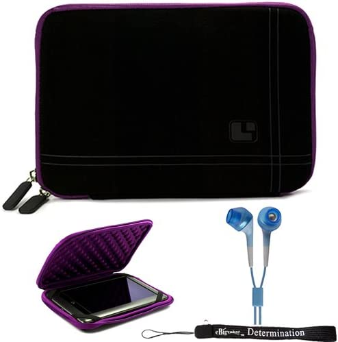 Purple Black Limited Edition Stylish Sleeve Premium Cover Case for Accessories for Barnes and Noble Nook Color eBook Reader Tablet and Hand Strap and Earbuds