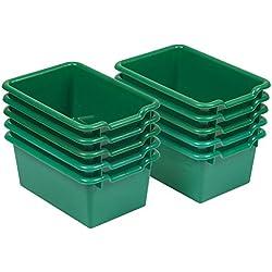 ECR4Kids Scoop Front Storage Bins, Green (10-Pack)