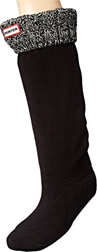 Hunter 6 Stitch Cable Boot Sock Black/Grey MD (Women
