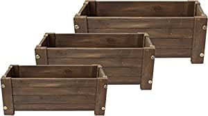 Happy Planter 712166791790 3 Piece Hpch413 Wood Barrel Outdoor Planter, Mocha Brown