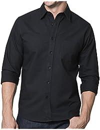 Aubon Men's Button Down Shirt, Solid Black Oxford, 100% Cotton