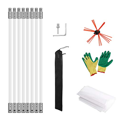 Morinoli 26ft Chimney Cleaning Kit Vent Chimney Cleaning System with Extension Rob Extends Up Flexible Nylon Rods,Includes Trim-to-Fit Spinning Chimney Whip(8 Rods)