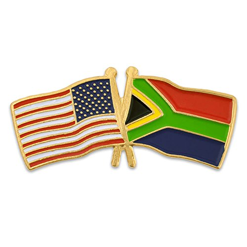 PinMart's USA and South Africa Crossed Friendship Flag Enamel Lapel Pin on sale