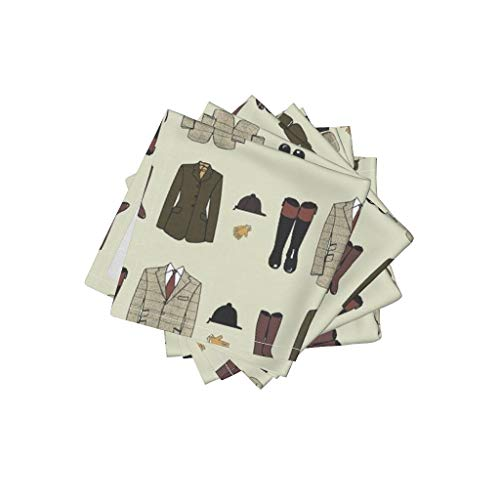 Roostery Fashion Linen Cotton Cloth Cocktail Napkins - Style Horse Equine Equestrian Foxhunt Hound by Ragan (Set of 4) 10 x 10in