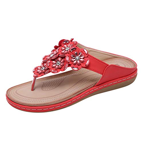 (LUCA Sandals Slippers,Women's Beach Flip Flops Bohemian Slippers Flat Shoes Crystal Flower Sandals Red)